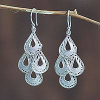 Sterling silver filigree chandelier earrings, 'Raindrop Cascade'