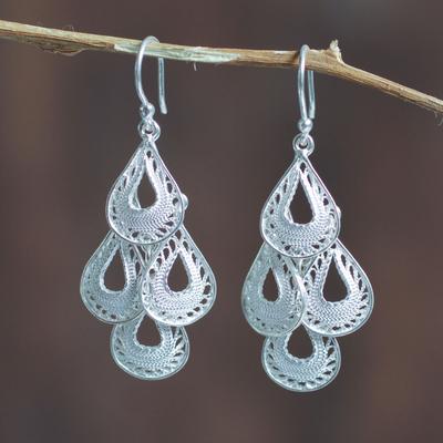 Sterling silver filigree chandelier earrings, 'Raindrop Cascade' - Fair Trade Andean Silver Filigree Earrings