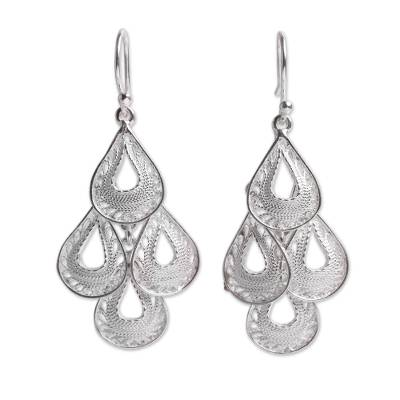 Sterling silver filigree chandelier earrings, 'Raindrop Cascade' - Fair Trade Andean Silver Filigree Earrings