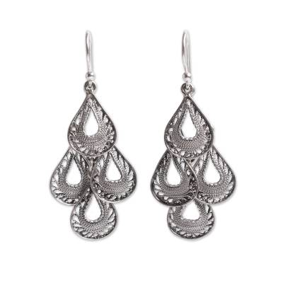 Sterling silver filigree chandelier earrings, 'Dark Raindrop Cascade' - Silver Filigree Artisan Chandelier Earrings