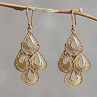 Gold vermeil filigree chandelier earrings, 'Raindrop Cascade'