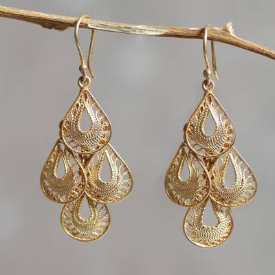 Gold vermeil filigree chandelier earrings, 'Raindrop Cascade' - Gold Vermeil Handcrafted Filigree Chandelier Earrings