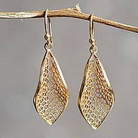 Gold vermeil filigree dangle earrings, 'Emerging'