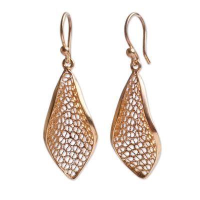 Gold vermeil filigree dangle earrings, 'Emerging' - Handcrafted Filigree Gold Vermeil Earrings