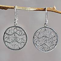 Sterling silver filigree earrings, 'Natural Energy'