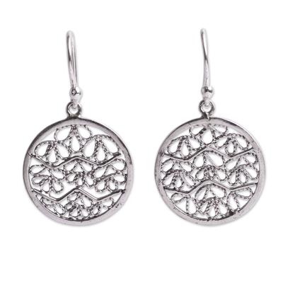 Sterling silver filigree earrings, 'Natural Energy' - Artisan Crafted Earrings in Sterling Silver Filigree