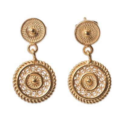 Gold plated filigree dangle earrings, 'Beautiful Fantasy' - Classic Andean Filigree Gold Plated Earrings