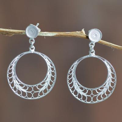 Novica Sterling silver drop earrings, Peacock Lace