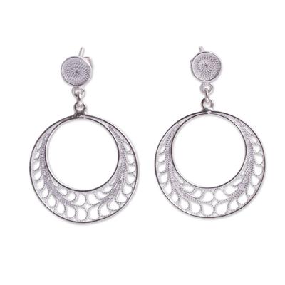 Sterling silver filigree dangle earrings, 'Tondero Dancer' - Filigree Sterling Silver Earrings Crafted by Hand in Peru