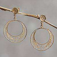 Gold plated filigree dangle earrings, 'Tondero Dancer' - Gold Plated Filigree Earrings Handcrafted in Peru