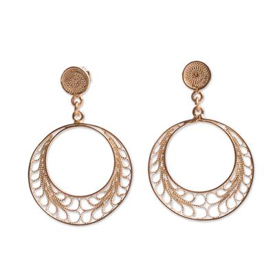 Gold plated filigree dangle earrings, 'Tondero Dancer' - Gold Plated Filigree Earrings Handcrafted in Peru
