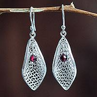 Garnet filigree dangle earrings, 'Emerging' - Garnets on Sterling Silver Filigree Earrings from Peru