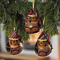 Dried mate gourd ornaments, 'Holiday Owls' (set of 3) - Peruvian Hand-painted Mate Gourd Holiday Bird Ornaments