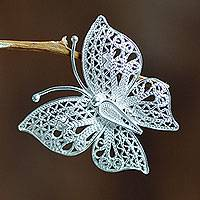 Sterling silver filigree brooch pin, 'Catacos Butterfly' - Filigree Butterfly Brooch Pin Handmade in Sterling Silver