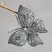 Sterling silver filigree brooch pin, 'Aged Catacos Butterfly'