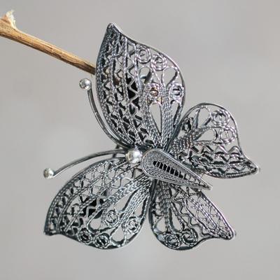 Sterling silver filigree brooch pin, 'Aged Catacos Butterfly' - Filigree Butterfly Brooch Pin in Aged Sterling Silver