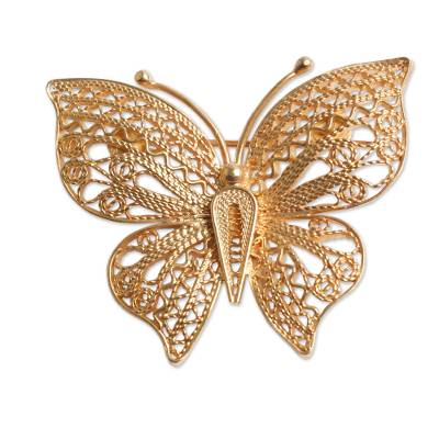 Handmade Gold Plated Filigree Butterfly Brooch Pin