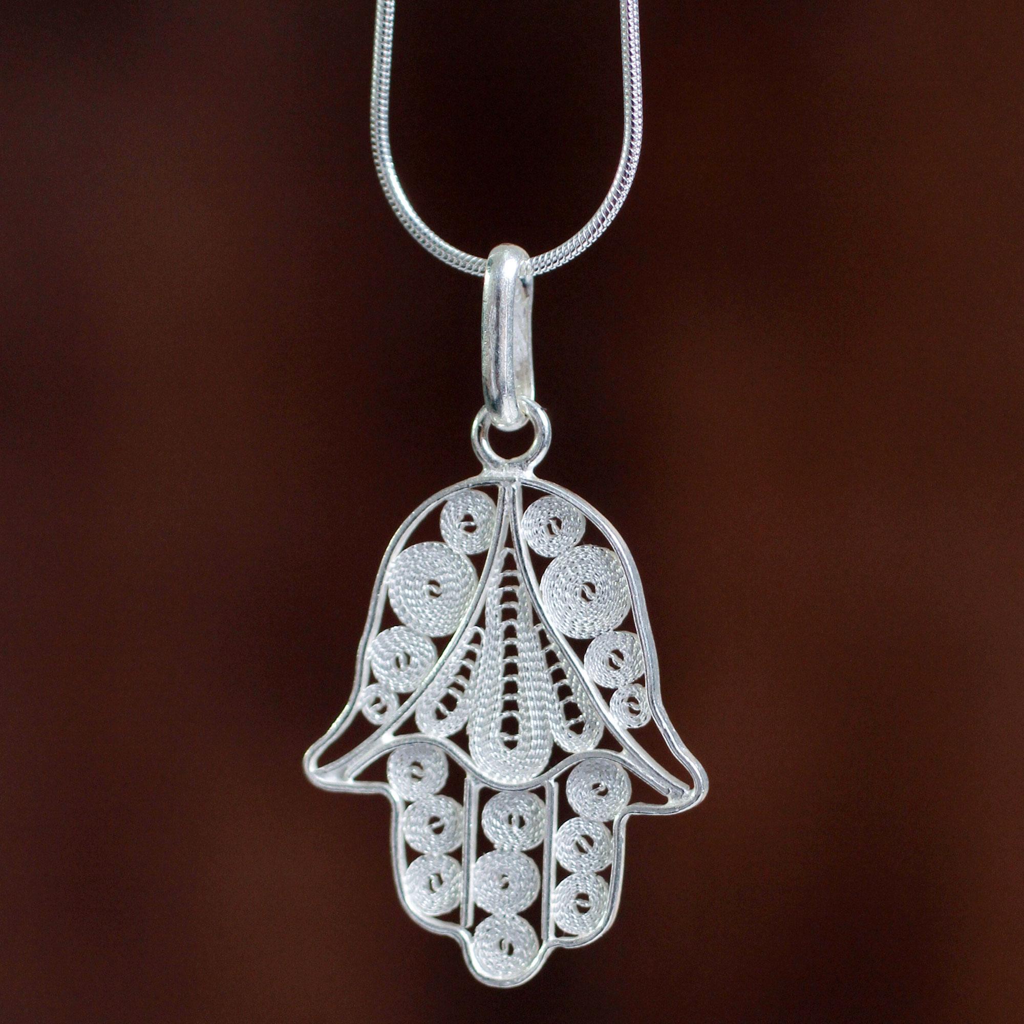 "Artisan Crafted Sterling Silver Filigree Hamsa Hand Necklace, ""Hamsa Symbol"""