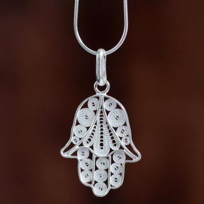 ce4acbfbc Sterling silver pendant necklace, 'Hamsa Symbol' - Artisan Crafted Sterling  Filigree Hamsa Hand