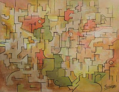 'Dream Memory' - Abstract Painting in Warm colours from Peru