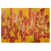 'Resisting the Glow' (2012) - Bold Abstract Expressionist Painting in Citrus Tones