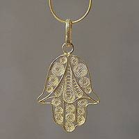 Gold vermeil pendant necklace, 'Hamsa Symbol' - Gold Vermeil Filigree Artisan Crafted Hamsa Symbol Necklace