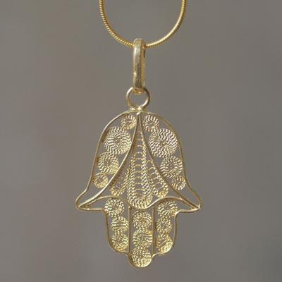 Gold vermeil pendant necklace, 'Hamsa Symbol' - Gold Vermeil Filigree Artisan Crafted Hamsa Symbol Necklace