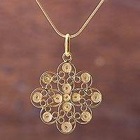 Gold vermeil pendant necklace, 'Gardenia Filigree'