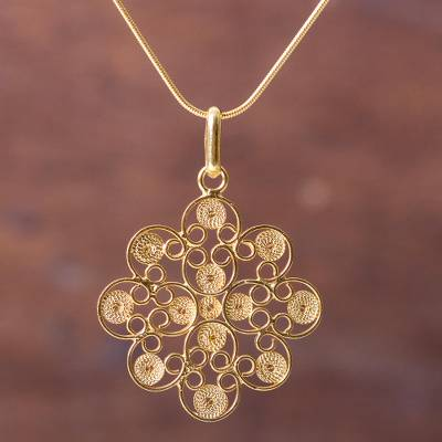 Gold vermeil pendant necklace, 'Gardenia Filigree' - Floral Filigree Artisan Crafted Gold Vermeil Necklace