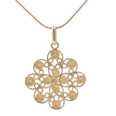 Floral Filigree Artisan Crafted Gold Vermeil Necklace