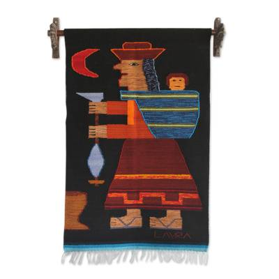 Wool tapestry, 'Spinning Yarn' - Artisan Handwoven Wool Tapestry from the Andes