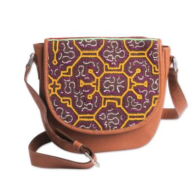 Unicef Market Fair Trade Leather Shoulder Bag With Embroidered Flap Sunny Shipibo Paths