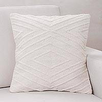 Wool cushion cover, 'Diamonds in the Snow' - Handwoven Ivory Wool Cushion Cover with Diamond Motifs