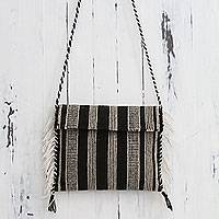 Wool shoulder bag, 'Andean Roads' - Peru Handwoven Wool Shoulder Bag in Black and White
