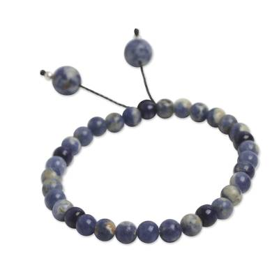 Beaded Sodalite Stretch Bracelet with Silver Accents