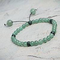 Aventurine stretch bracelet, 'Night Meadows' - Handcrafted Aventurine Stretch Bracelet with Ceramic Beads
