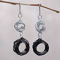 Aluminum dangle earrings, 'Raven Nest' - Peruvian Handcrafted Aluminum Dangle Earrings