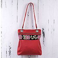 Leather and wool shoulder bag, 'Red Roses' - Peru Red Leather Shoulder Bag with Embroidery Trim