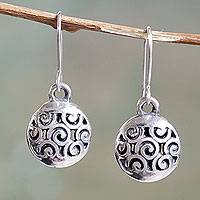 Sterling silver dangle earrings, 'Swirling Memories' - Artisan Crafted Sterling Silver Earrings with Openwork