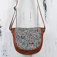 Leather and cotton shoulder bag, 'White Shipibo Paths' - Brown Leather Shoulder Bag with Shiphibo Embroidered Flap