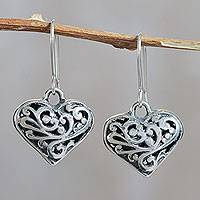 Sterling silver heart earrings, 'Everlasting Love' - Heart Earrings Crafted in Sterling Silver Openwork