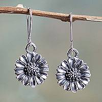 Sterling silver flower earrings, 'Everlasting Daisies' - Peru Sterling Silver Flower Earrings with Antiqued Finish