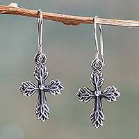 Sterling silver cross earrings, 'Crossing Leaves' - Leafy Cross Earrings Crafted of Sterling Silver in Peru