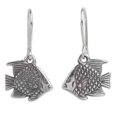 Fair Trade Peruvian Jewelry Sterling Silver Fish Earrings