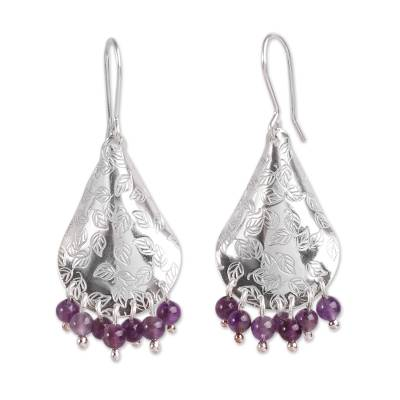 Amethyst dangle earrings, 'Purple Autumn' - Amethyst and Embossed Leaves on Sterling Silver Earrings