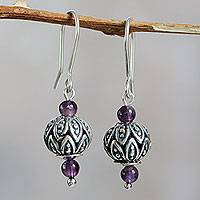 Amethyst flower earrings, 'Spherical Leaves' - Amethyst on Sterling Silver Earrings Handmade in Peru