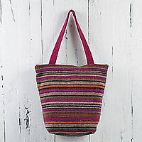 Wool shoulder bag, 'Iquitos Orchids' - Peru Purple Striped Shoulder Bag of Handwoven Wool
