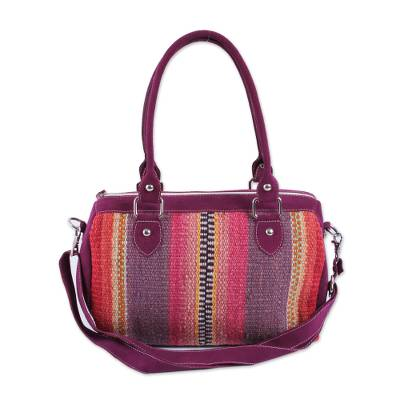 Novica Suede accented wool baguette handbag, Grapes and Berries