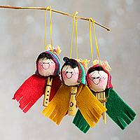 Ornaments, 'Musical Ties' (set of 3) - Cute Andean Musicians Hand Crafted Ornaments (Set of 3)