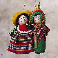 Cotton ornament, 'Quena Serenade' - Romantic Andean Musicians Hand Crafted Ornament